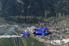 Members of the Flying Bulls, Marco Waltenspiel, Felix Seifert, and Marco Fuerst seen during a trainings session for the AirPower 2019 in Aigen im Ennstal, Austria on July 25, 2019.
